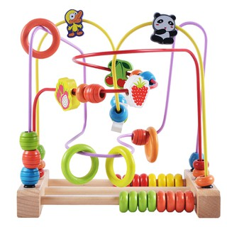 Wooden Bead Maze Game Roller Coaster Educational Toys for Kids Toddler