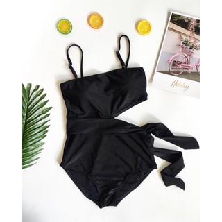 Bikini liền khoét eo 2 dây sexy-ĐEN