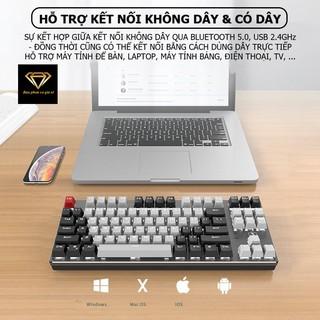 Bàn phím CƠ Bluetooth Không Dây Pin Sạc K950 LED đẹp, phím blue switch cho máy tính pc laptop, điện thoại, máy tính bảng thumbnail