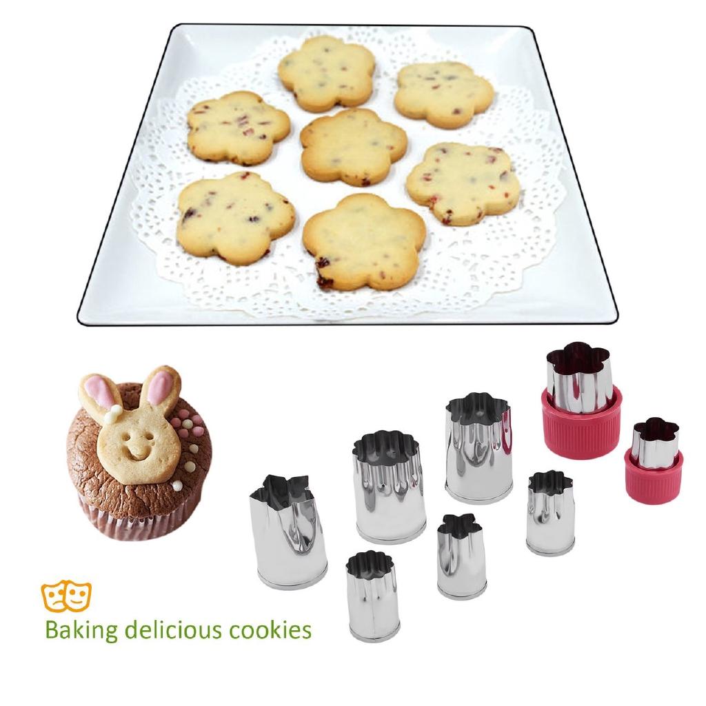 Bộ 8 khuôn bánh cookie hình bông hoa bằng thép không gỉ