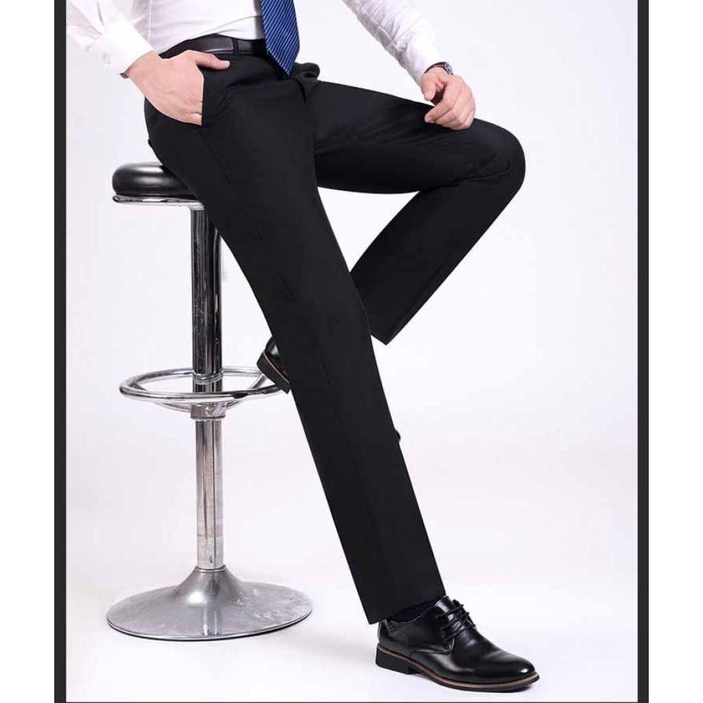 กางเกงสแล็ค เนื้อผ้า Super Premium Cotton เหมาะกับนักศึกษาและใส่ทำงาน หรือทุกโอกาส ทำงานผู้ชาย กระบอกขาตรง (สีดำ)างเกงสแ