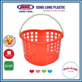 Giỏ nhựa đựng đồ hình tim có quai cầm SONG LONG - Giỏ đựng đồ đa năng cho không gian gọn gàng Buôn Rẻ 01175 thumbnail
