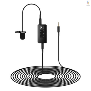 XFAN PRO Omni-directional Lavalier Microphone Clip-on Wired Condenser Mic with OLED Screen Cable Length 6m for Recorders DSLR Cameras Mobile Phones Ta