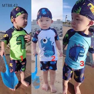 Bộ đồ bơi khủng long dễ thương đi biển kèm mũ bơi cho bé – MT88.42