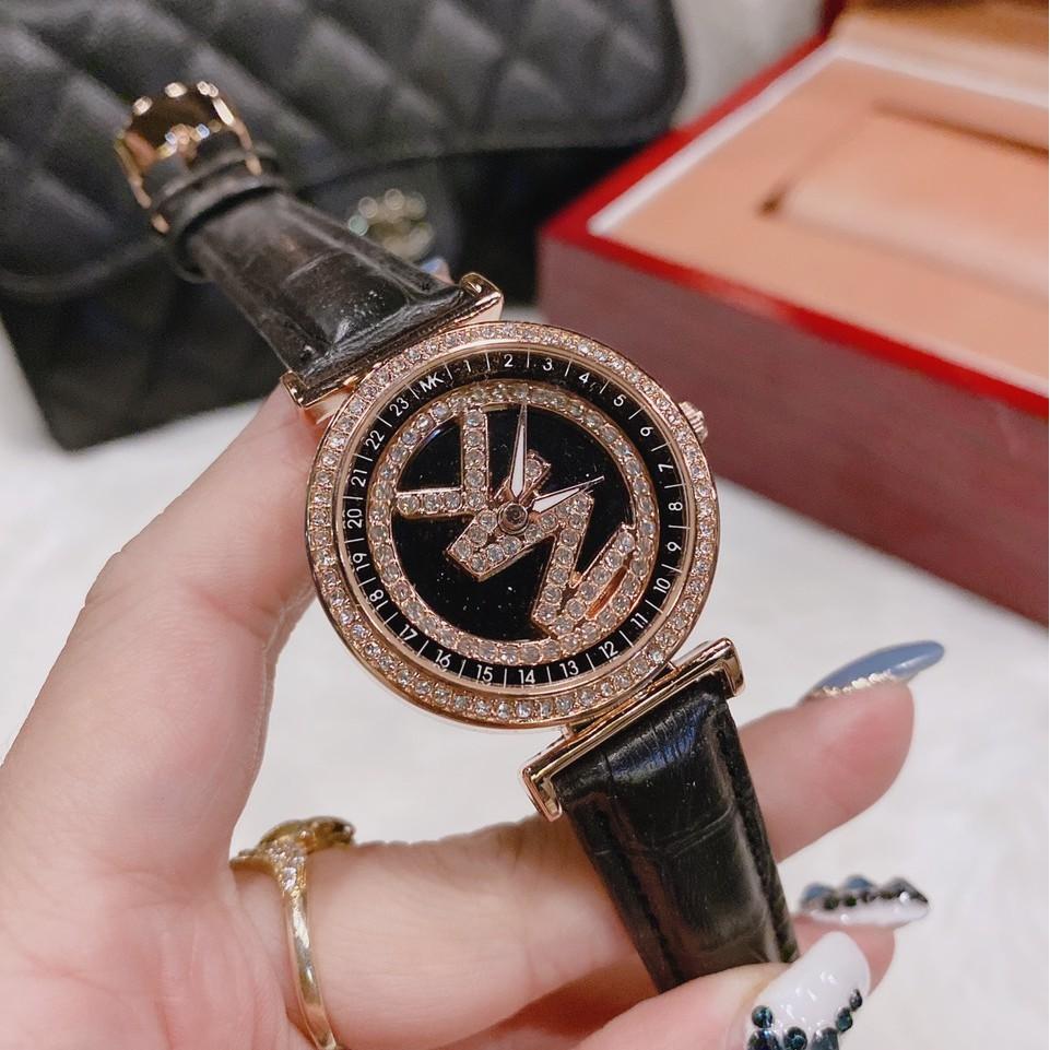 Đồng hồ nữ MK mặt xoay, dây da, hàng full box, thẻ bảo hành 12 tháng - Dongho.michael.kors