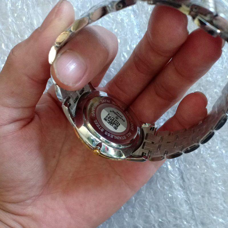 Đồng hồ sunrise nam chính hãng demi mặt trắng cao cấp, tặng kèm hộp da