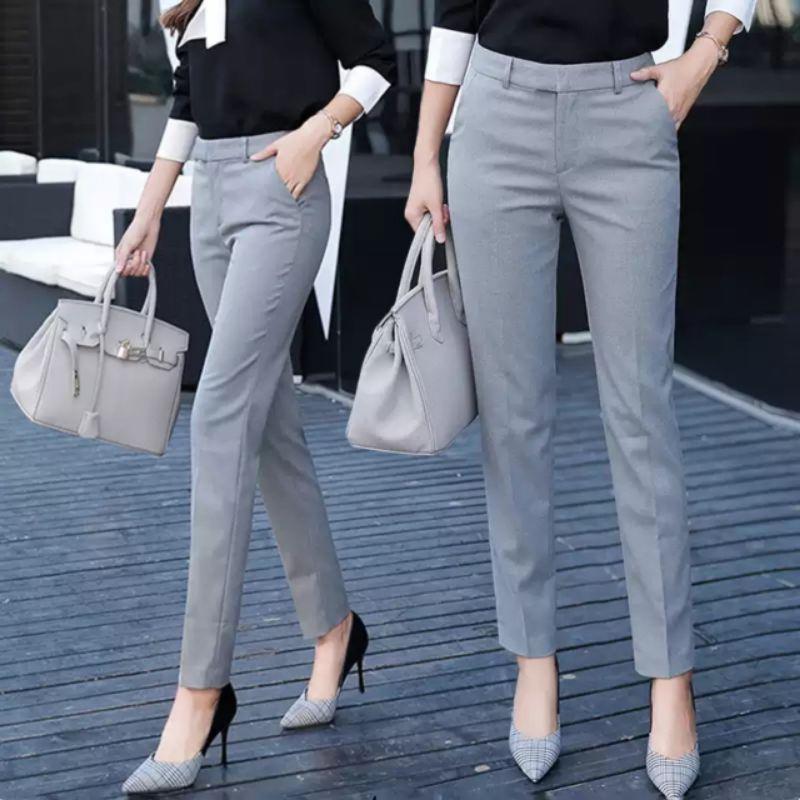 Quần tây công sở hàng đẹp ống đứng bigsize chất vải 2 biên dáng vừa Quần âu nữ cao cấp màu đen ghi xanh nâu mặc đi học