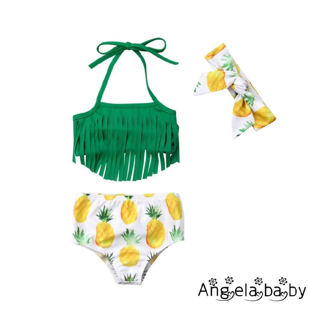 Bộ áo yếm tua rua + quần ngắn và băng đô nơ họa tiết quả thơm dễ thương cho bé