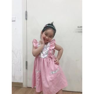 Váy bé gái đầm cho bé gái Olirive hồng xòe nhún bèo chính hãng cho bé từ 1 - 6 tuổi - Misolkids by huong2