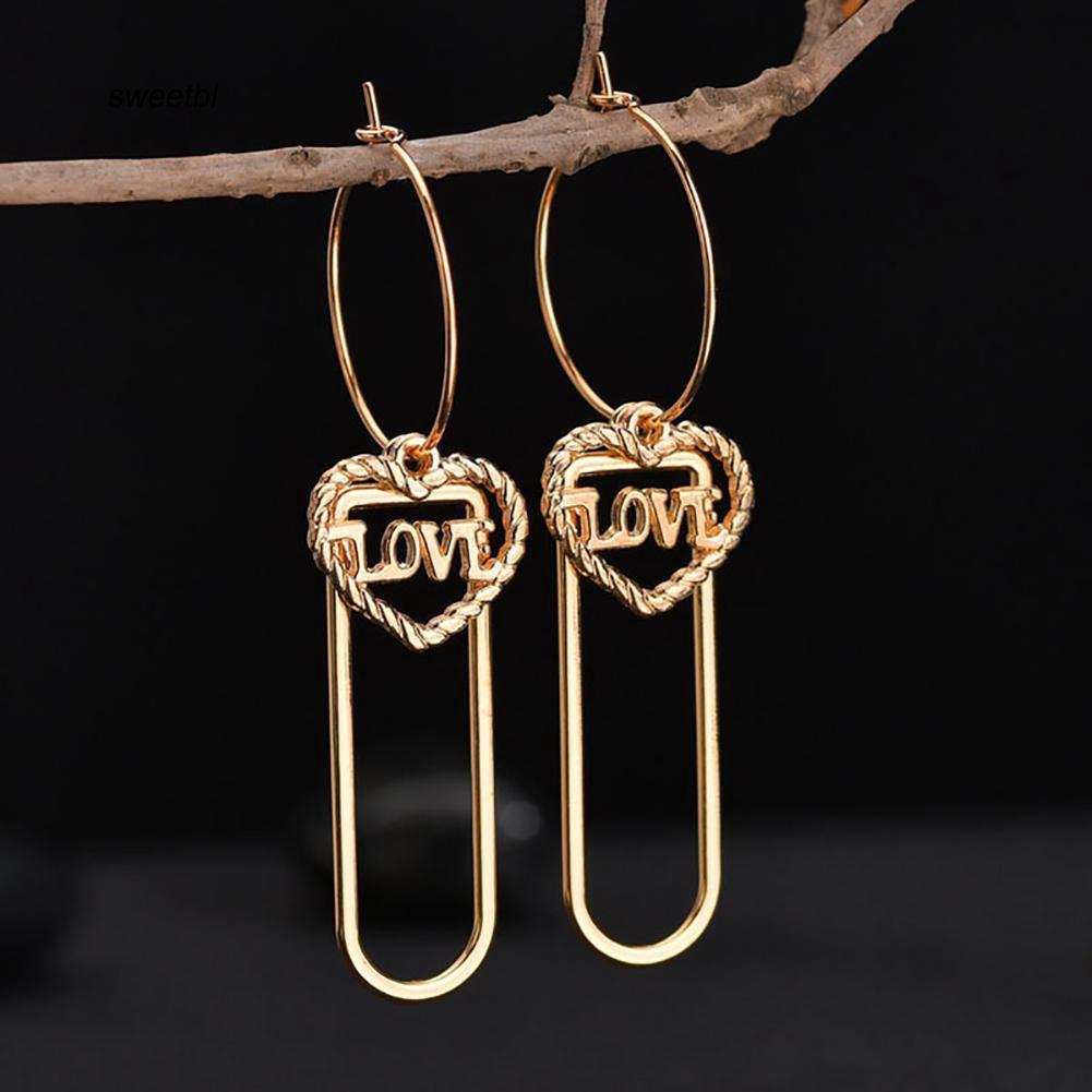 SWTB_Fashion Women Hollow Love Heart Pendant Dangle Long Hoop Earrings Jewelry Gift