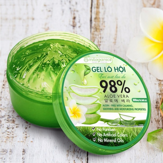 Gel Nha Đam 98% Milaganics 300ml Gel Aloe Vera 98%