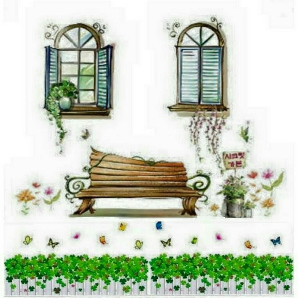 Decal dán tường combo hàng rào cửa sổ ghế