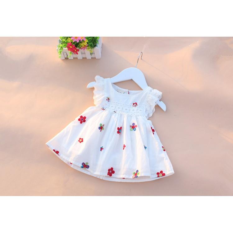 Đầm Bé Gái-Sơ Sinh Cao Cấp Loại 1 (Không Phải Loại 2) Thêu Dâu Tây, 100% Cotton, Chất Mềm