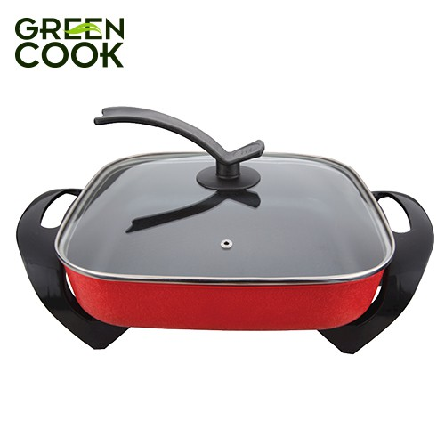 Lẩu, nướng điện nguyên khối chống dính 5L (30cm) Green Cook chuẩn Hàn Quốc - Hàng chính hãng