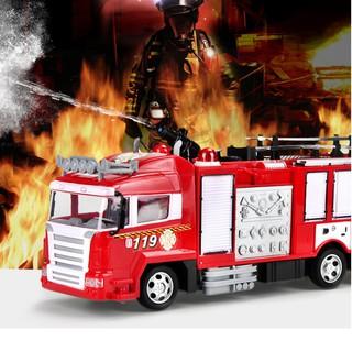 Xe cứu hỏa điều khiển phun được nước đồ chơi trẻ em sử dụng pin sạc