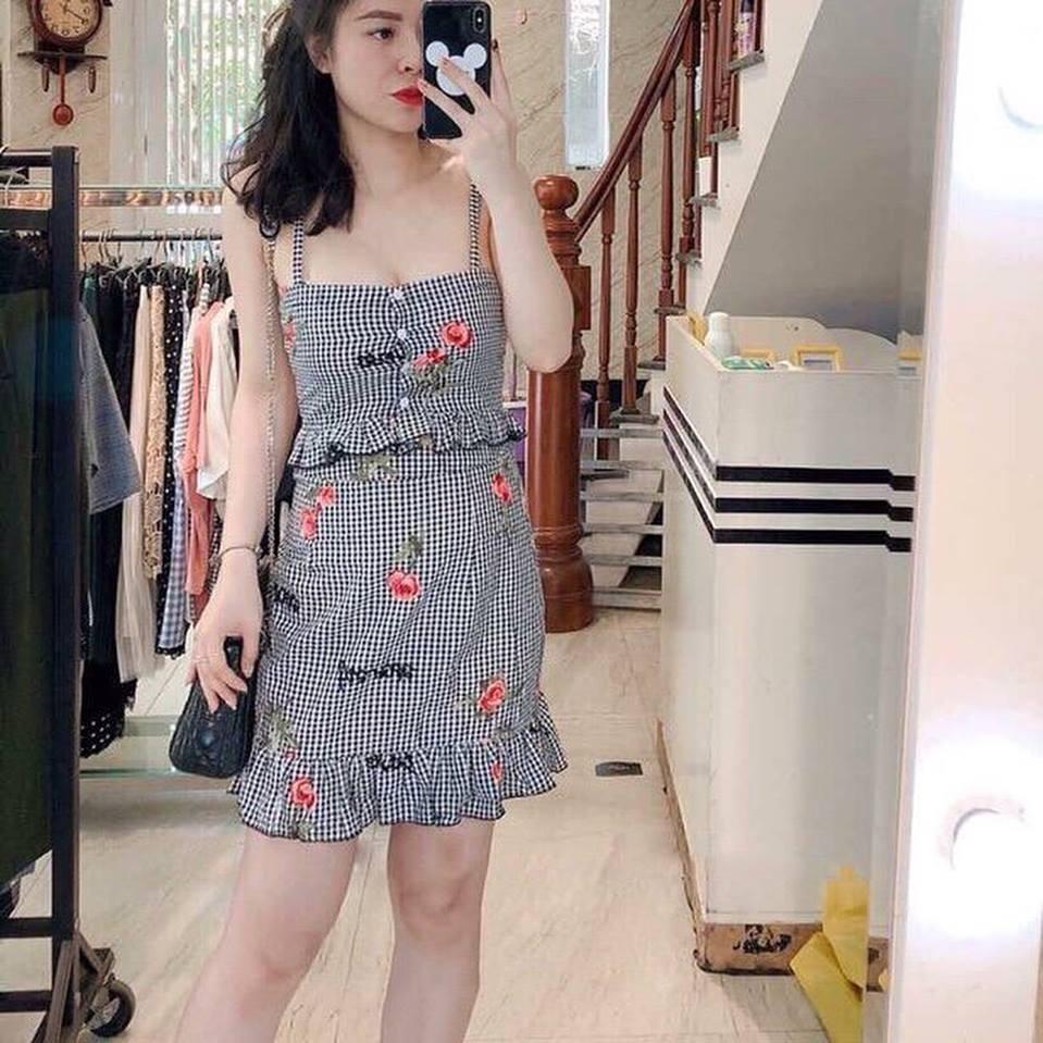 ?????�Set Áo + váy bèo Caro thêu