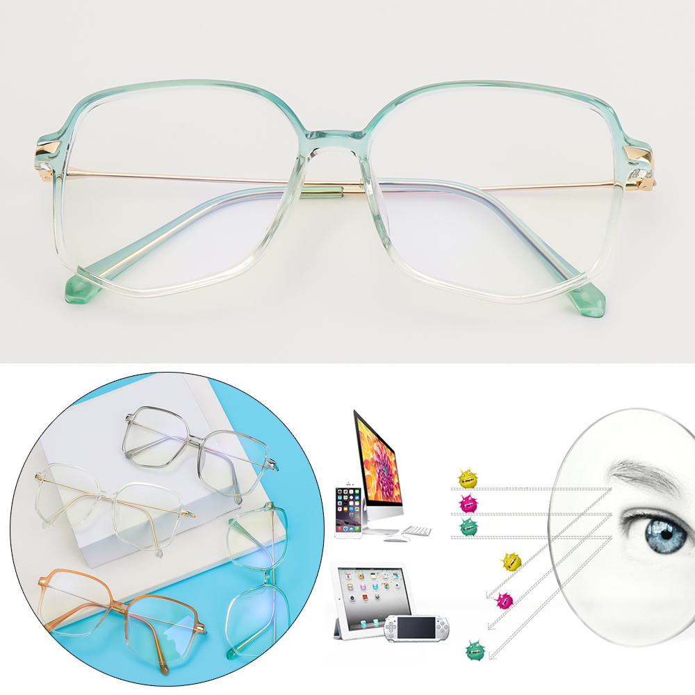 YVETTE Vintage Anti-Radiation Polygon Retro Spectacles Frames Anti-Blue Light Eyewear Fashion Irregular Computer Eyeglasses Optical Glasses