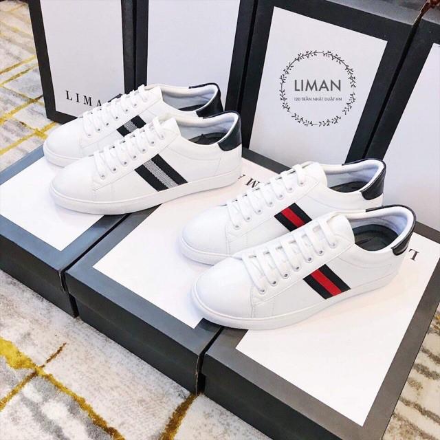Giày nam trắng viền kẻ 2 màu cá tính
