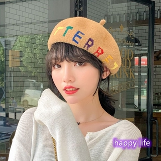Lady Autumn Winter Beret Wool-blend British Embroidery Match Style Painter Hat Letters All