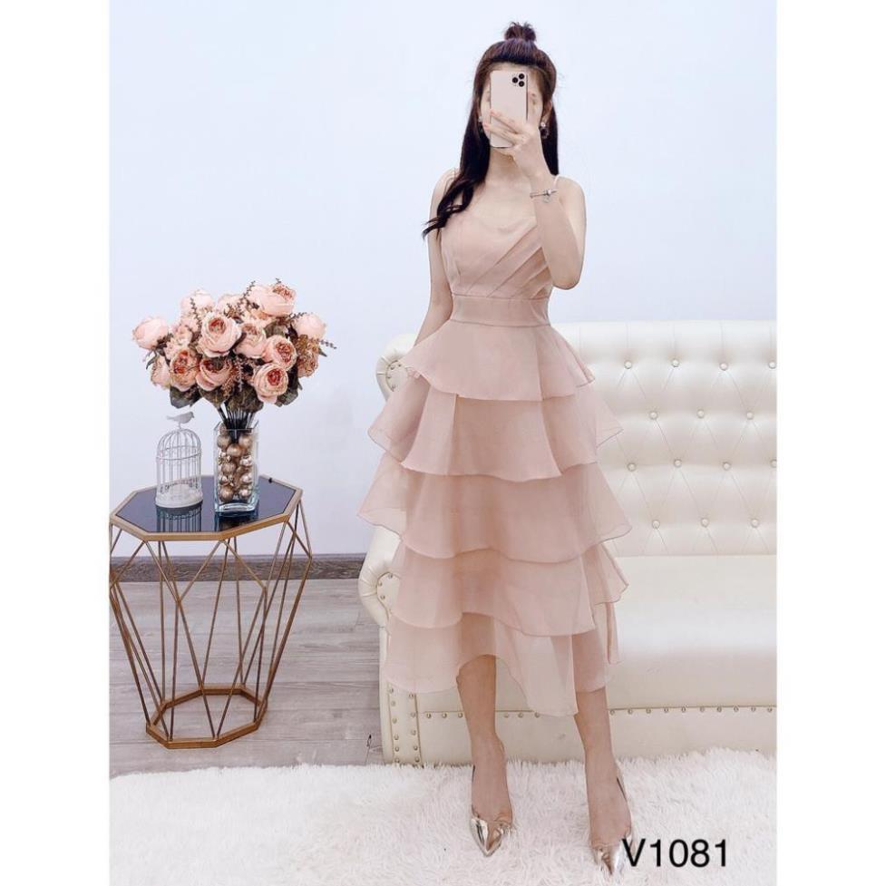 Đầm tầng 💗 FREESHIP ❤️ Đầm be 2 dây ngọc V1081