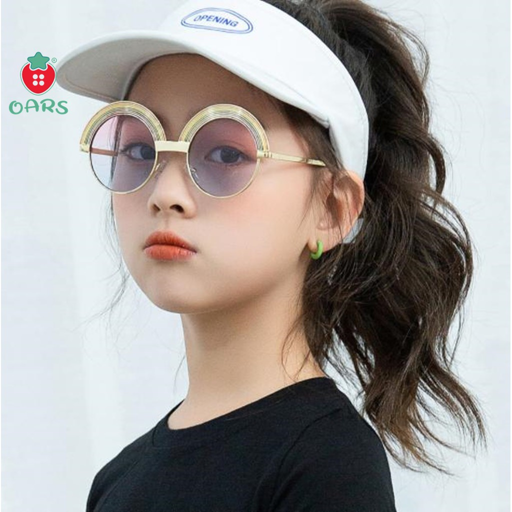 Kiếng mát thời trang cầu vòng cho bé gái bé trai ❤️gọng kính trẻ em tròn kim loại đuôi càng...