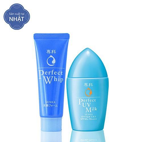 [HCM] Bộ sản phẩm làm sạch & chống nắng cho da dầu Senka (Perfect UV Milk 40ml + Perfect Whip 50g)_95004