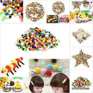 InitiationDawn 1000 Pcs 10mm Mixed Color Soft Fluffy Pom Poms for kids Crafts