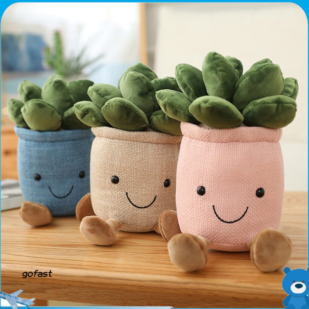 gofast Succulent Plush Toy Smile Display Mold Soft Plants Pillow House Decorations