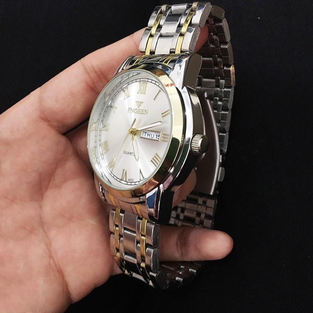 Đồng hồ nam dây thép FNGEEN 4002 khả năng chống nước chống xước, có lịch xem ngày tiện lợi