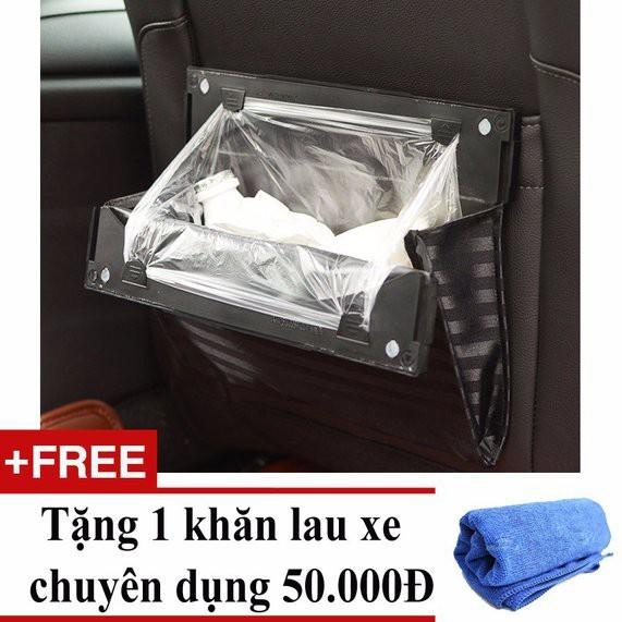 Túi đựng rác cài sau ghế ô tô + Tặng 01 khăn lau xe chuyên dụng