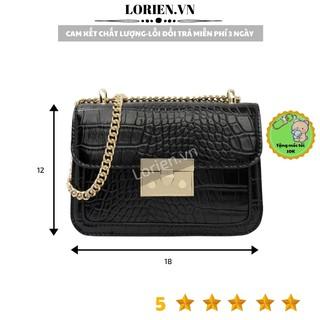 Túi đeo chéo thời trang nữ mini loại 1 LORIEN -Túi xách nữ khuy nhọn khoá bấm vuông da rắn size 18cm dự tiệc cao cấp