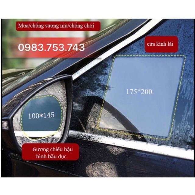 (FREE SHIP DH>50k) Bộ 4 miếng dán chống đọng nước kính hông và gương chiếu hậu ô tô