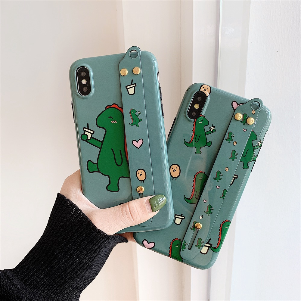 For iPhone 8 6s Plus Cover Multiple Dinosaur Phone Shell Cute Case Wristband XR XS MAX