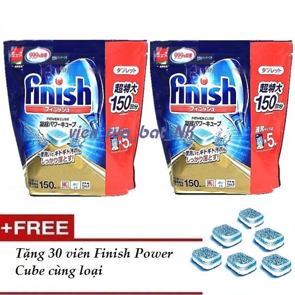 2 Hộp Viên rửa bát ly finish 150v ( nội địa nhật ) tích hợp bột muối bóng trong 1 viên,tặng 30v