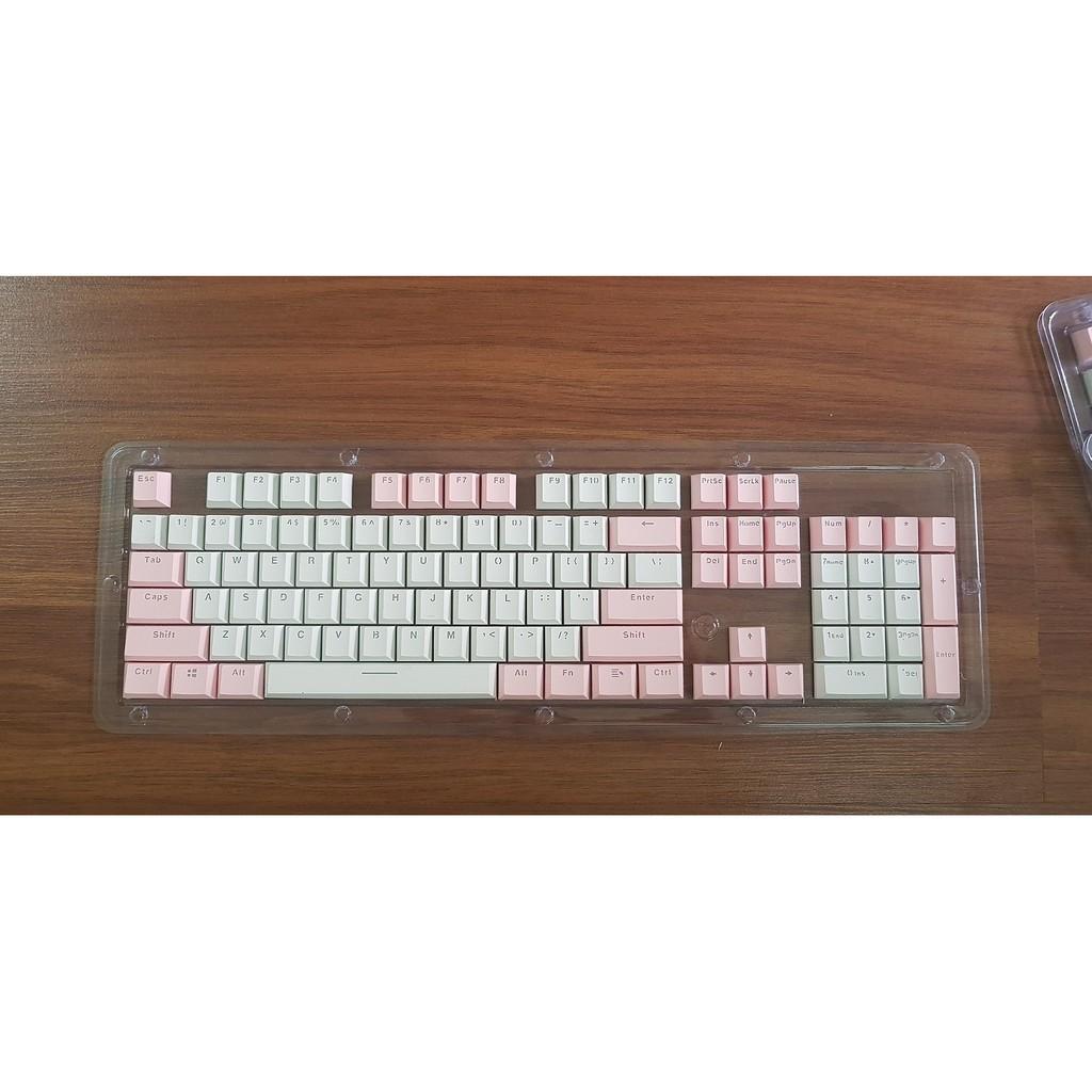 Set keycap Pink White Valentine chất liệu thick PBT doubleshot xuyên led, cherry profile, km thêm keypuller dài Giá chỉ 348.000₫