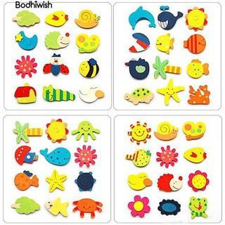 ☎12 Pcs Cartoon Pattern Wood Fridge Magnet Stickers Kids Educational bauble