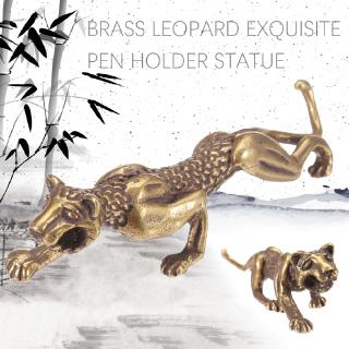 Asian Chinese Antique Collection Asian Brass Leopard Exquisite Pen Holder Statue