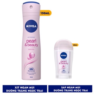 Bộ đôi Nivea: Xịt 150ml và sáp 40ml ngăn mùi dưỡng trắng Ngọc trai