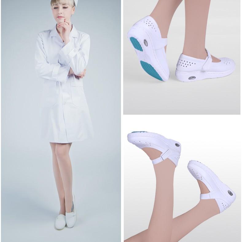 Giày đệm y tá nữ khử mùi thoáng khí mùa đông- Giày búp bê y tá- giày đi trong bệnh viện, phòng khám- giày chống trượt
