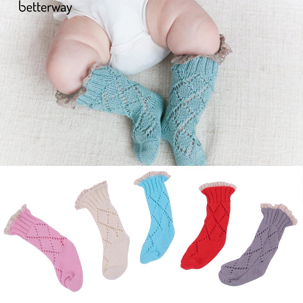 ☀Baby Winter Lace Top Decor Soft Knee High Leg Warmer Knitting Socks