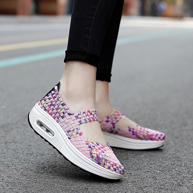 Giày YOZOH dạng dệt đế cao sành điệu cho nữ size 35-44