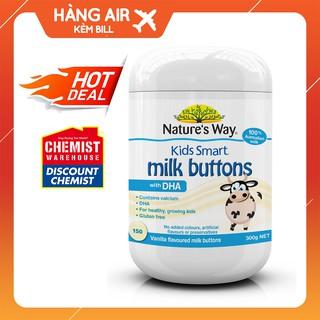 [ CHÍNH HÃNG ] Viên kẹo sữa Natures Way Kids Smart Milk Buttons DHA