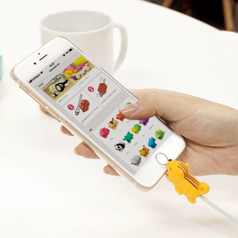 Phụ Kiện Bảo Vệ Đầu Dây Cáp Sạc Hình Động Vật Dễ Thương Cho Iphone Ipad