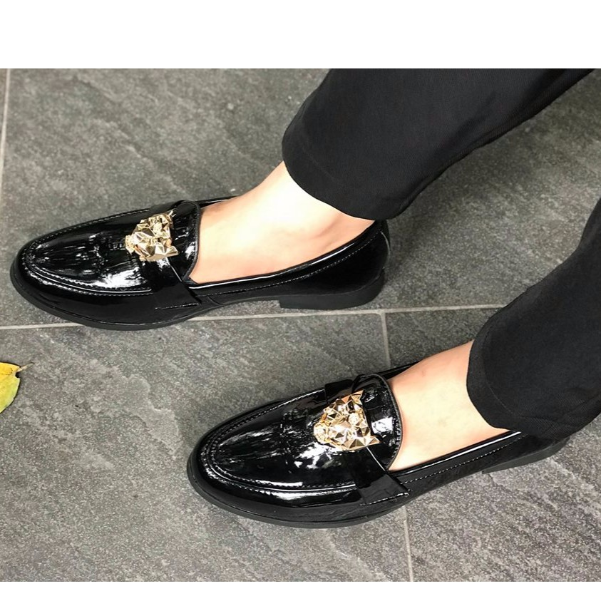 Giày lười giày mọi nam da lỳ kiểu dáng hàn quốc đai hổ báo vàng