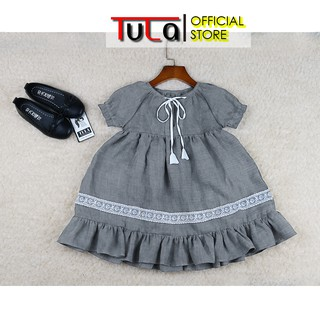 Váy Đầm Cho Bé Gái Vải Linen Hàn Quốc Ghi Đậm Phối Ren Chân Váy