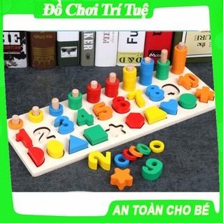 Đồ chơi bảng số cọc và hình khối 3in1 màu sắc tương đương cho bé dễ dàng học toán