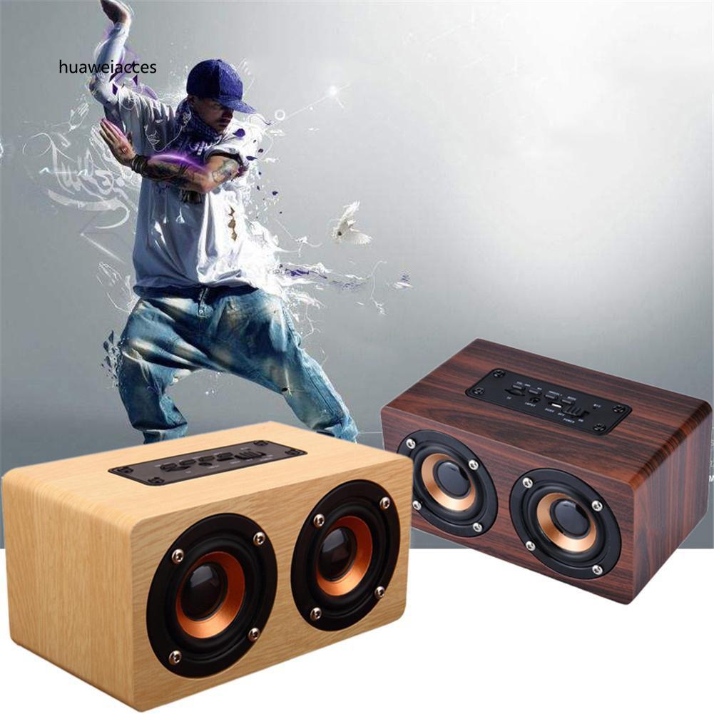 HUA♥10W Retro Wood Wireless Bluetooth Speaker Portable Mini USB Charging HiFi Speaker