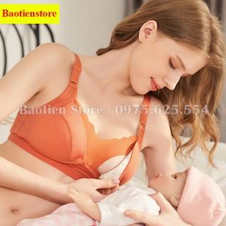 Yêu Thích+Áo lót bầu cho con bú sau sinh có cúc bấm, không gọng, đệm mút mỏng, nâng đỡ ngực chống chảy xệ tốt, chất cotton AN09