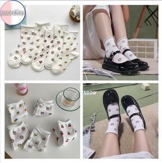 [sweet] woman Cartoon cute Summer Fruit cherry cotton breathable Loose Socks Girl white Socks