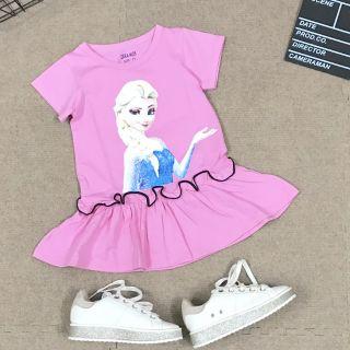 Váy Đầm thun Bé Gái công chúa Elsa siêu mềm mát Size nhí đại 1-14